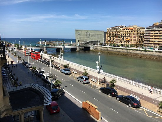Hotel Maria Cristina, a Luxury Collection Hotel, San Sebastian: River and sea view from corner suite second floor.