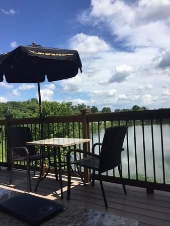 Yorkville, IL: Lakeside deck for dining.