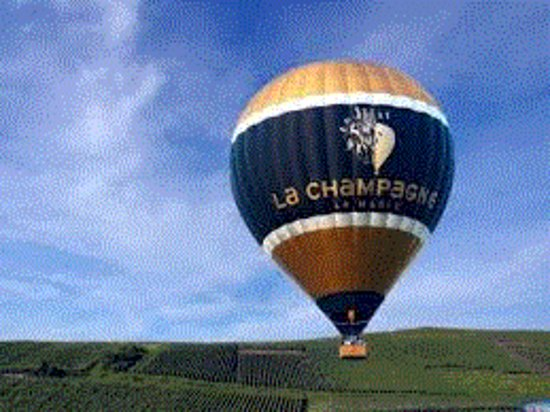 Taissy, France : Hot air ballon over Champagne