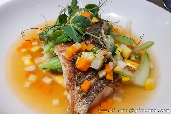Vie de Chateaux: Pan Fried Fillet of Hake, Summer Vegetables, Polenta and Tomato Consommé.
