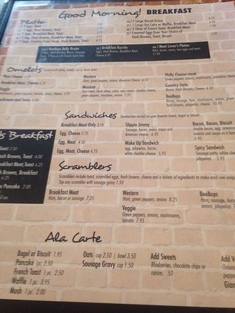 Wilmot, โอไฮโอ: Breakfast menu
