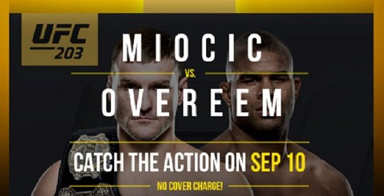 UFC 203 – Sep 10, 2016 at Micky's Public House, Townhall Coquitlam, Townhall South Surrey, Townh