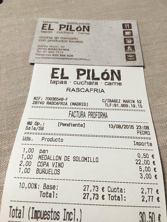 restaurante el pilon factura