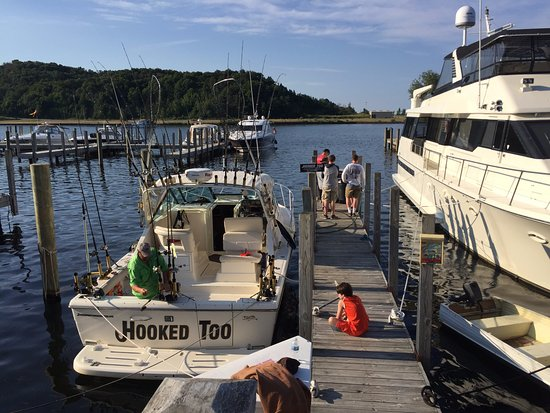 Frankfort, MI: Cleaning our catch at the end of the dock
