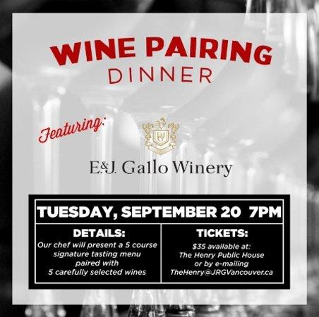 Σάρρεϋ, Καναδάς: The Moment You've Been Waiting For! A September Wine Pairing Dinner At The Henry Public House