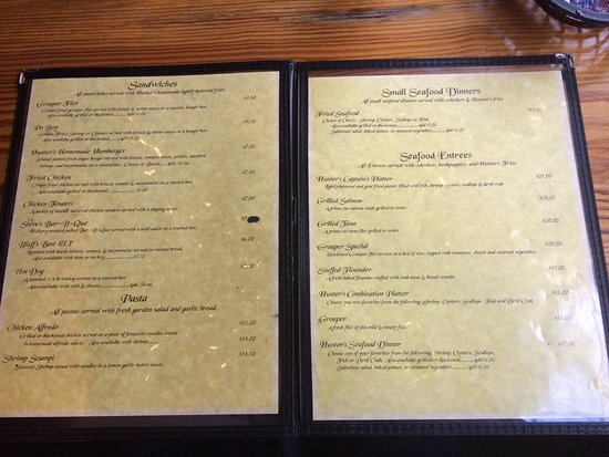 Townsend, GA: The Menu at Hunters Cafe