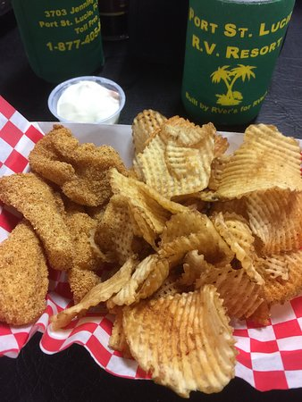 Carlyle, IL: Catfish sandwich with homemade waffle chips.