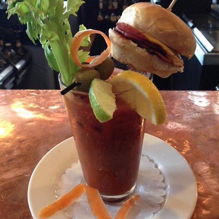 Sea Girt, NJ: Sunday Brunch Bloody Mary topped with a Pork Roll & Cheese Slider!
