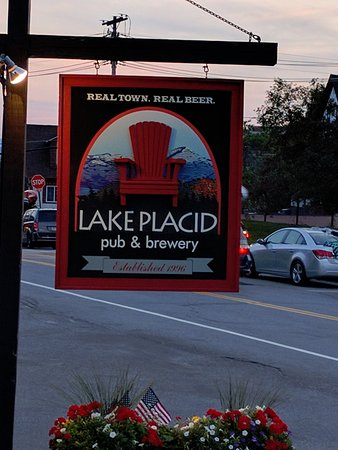 Lake Placid Pub & Brewery: Sign on road