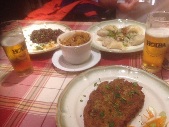 Peirogi, Bigos, black pudding, and beer.