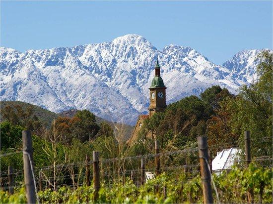 Calitzdorp, Zuid-Afrika: View towards the Church outside Boplaas Wine Cellar.