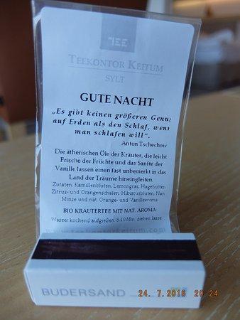 Budersand Hotel - Golf & Spa: Gute Nacht Präsent
