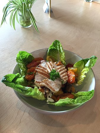 Rivergreen Centre Cafe : Puy Lentil Salad with Chicken and Roast Vegetables