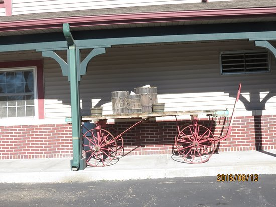 Comfort Inn Warrensburg Station : Old train baggage station cart in front of hotel