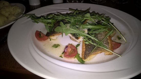 Arnolds Hotel: seabass, with side dish of champ too.