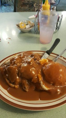 Dwight, IL: Hot beef w/real mashed potatoes. Enough for 2