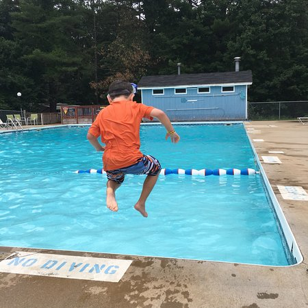 Lebanon, ME: my son enjoying one of the 2 outdoor pools