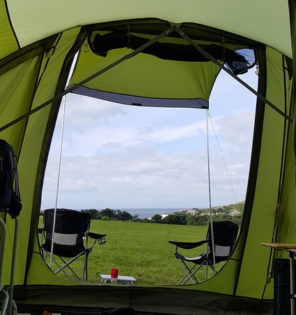 Chideock, UK: view from the tent