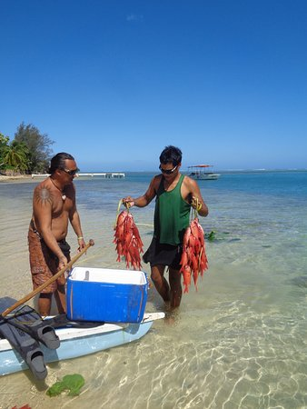 Moorea, French Polynesia: Locals just back from fishing.