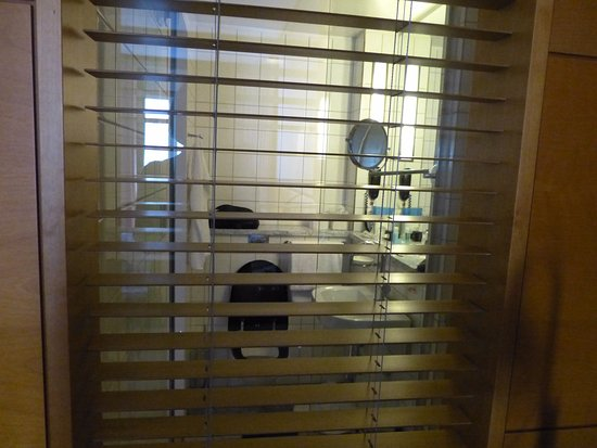 Hotel Rival: View of bathroom from room. Fortunately the blinds in the shower can be closed.