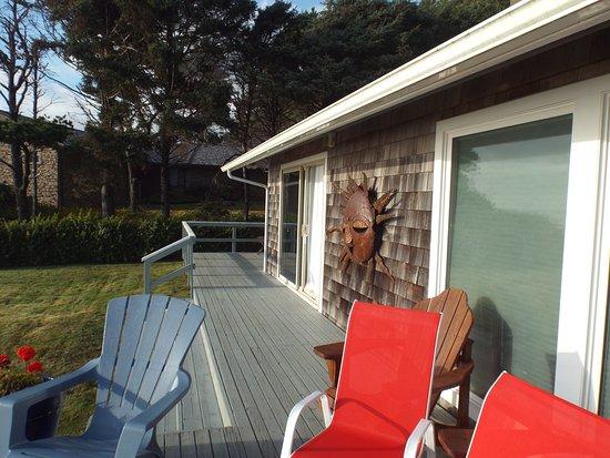 Arch Cape, OR: deck, neighbors house