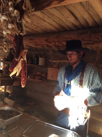 Delta, CO: We were there for a special event and this frontiersman was there serving an authentic meal.