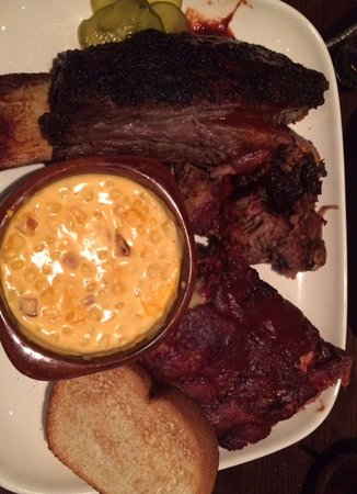 Jack Stack Barbecue - Freight House: Jack's Best (Crown Prime Beef Rib, Burnt Ends, Baby Back Pork Ribs) with cheesy corn bake