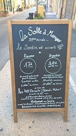 Menu Picture Of La Salle A Manger Salon De Provence Tripadvisor