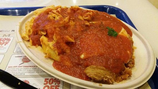 Bonanno's New York Pizzeria: CHICKEN PARMIGIANA - A bargain at $15 inside MGM food court