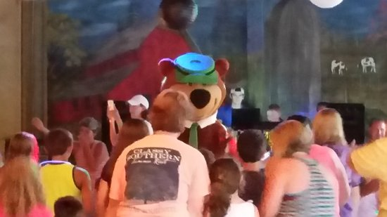 Yogi Bear's Jellystone Park Marion: Saturday night dance. DJ is fantastic, he dances out there with the kids. Yogi comes to dance.