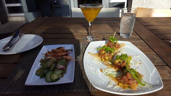Flying Fish : lemongrass shrimp skewers and ahi tuna poke