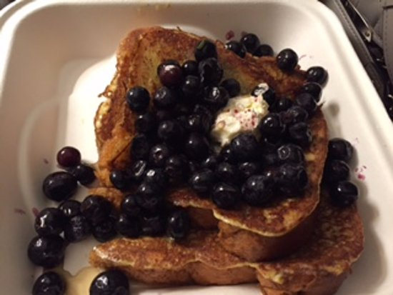 South Burlington, VT: french toast with fresh blueberries and maple syrup