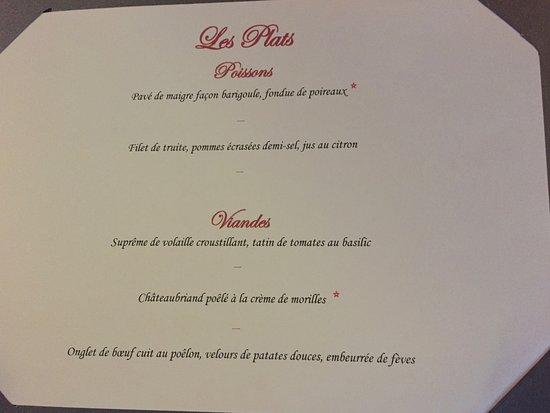 Condat-sur-Vezere, Francia: Les plats du menu-carte