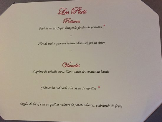 Кондан-сюр-Везер, Франция: Les plats du menu-carte