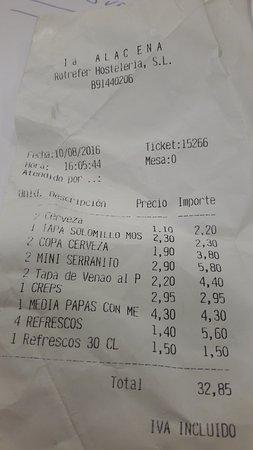 Bormujos, Hiszpania: Factura al menos comedida, Calidad Muy Baja :- (