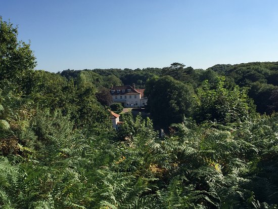 Kelling, UK: Looking back at The Pheasant Hotel from the heath.