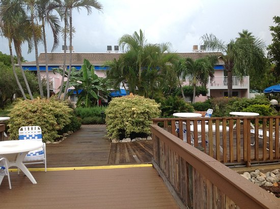 Smuggler's Cove Resort: View from bayside of the gardens and rooms.