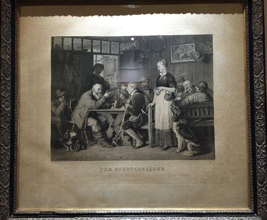 Brunnen, Zwitserland: Der Sonntagsjäger, Bild im Korridor, passend zum Sonntag:-)