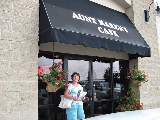 Middlebury, IN: Aunt Karen's Cafe entrance, menu cover, interior and my Gluten Free California Chicken Lettuce W