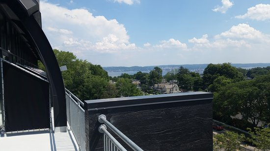 Nyack, NY: View of the Hudson from the balcony