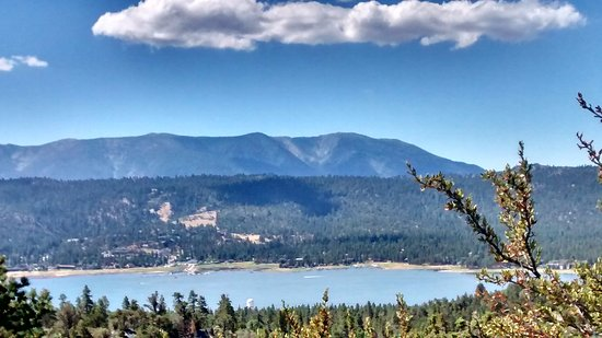 Big Bear Region, CA: View of Big Bear Lake from road to Holcomb Valley.