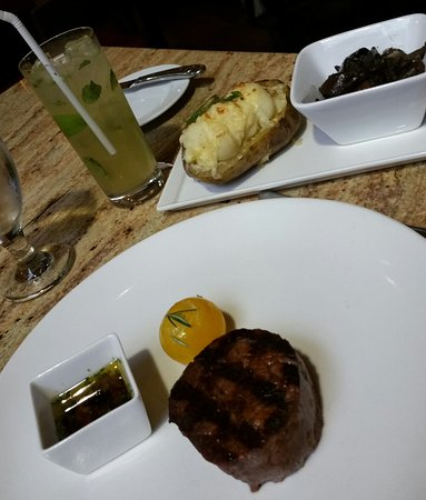 Spin Kitchen and Bar: Filet, twice baked potato, mushrooms and coconut mojito
