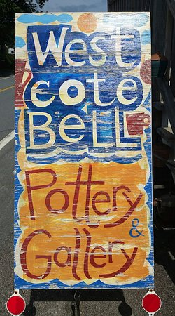 The sign outside Westcote Bell Pottery, LaHave