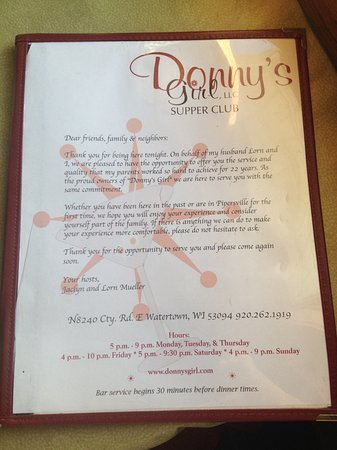 Watertown, WI: menu from Donny's Girl