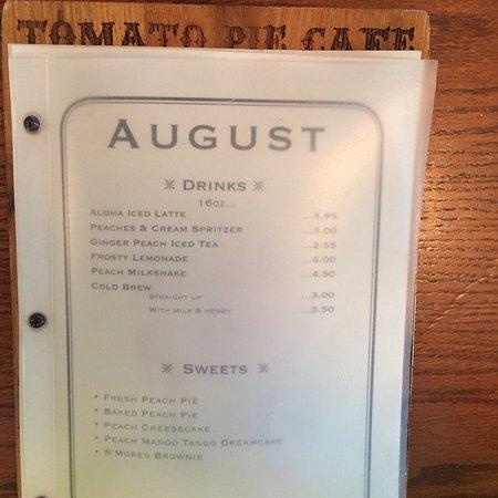 Lititz, PA: Tomatoe pie and Menu