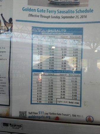 ซอซาลิโต, แคลิฟอร์เนีย: ferry time-table