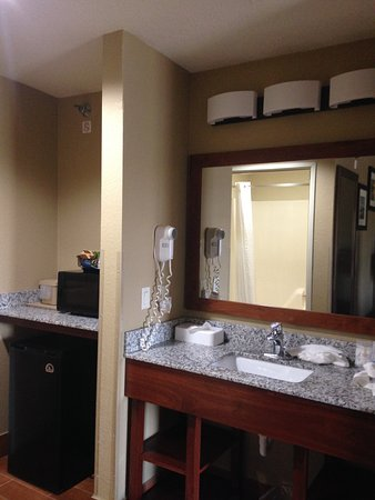 Comfort Inn & Suites : The kitchen area and sink area.
