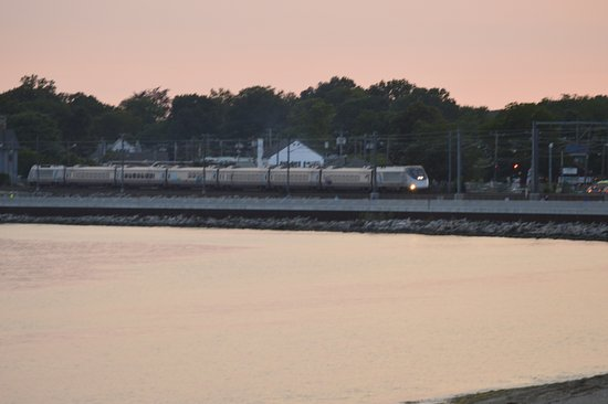 East Lyme, CT: Beach and train at sunset