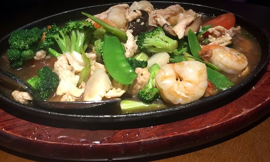 Bethany, โอคลาโฮมา: Hunan Shrimp (I think) with sauteed veggies.