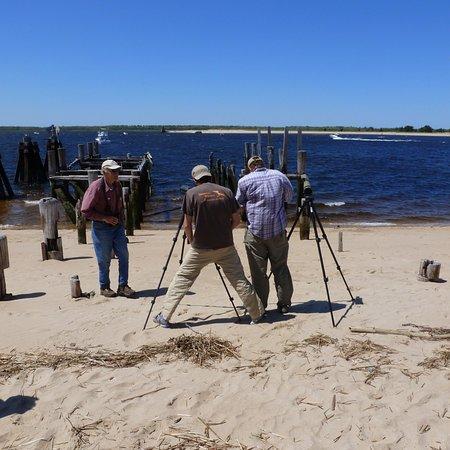Newbury Beach: Birdwatchers on the beach